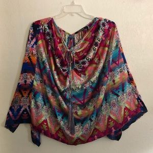 KAS New York colorful poncho top, one size